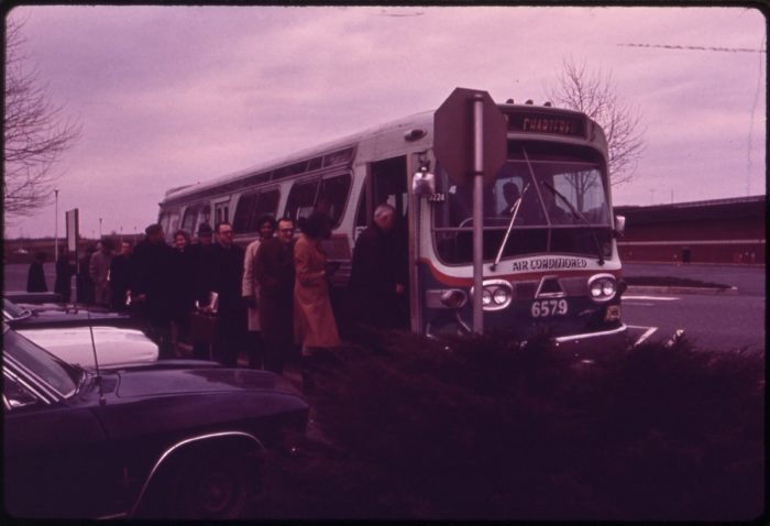 4. This photo captured in 1973 shows people boarding a Maryland Express bus heading towards Washington DC.