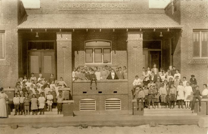 2. A group of kids gathered on the steps at Newport Beach School in 1914.