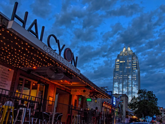 12. Halcyon is right in the  busy quarters of Austin nightlife. Great place to pair your coffee with a late night bite to eat.