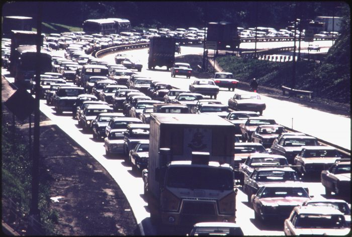 9. Rush hour traffic on the Parkway East - 1973