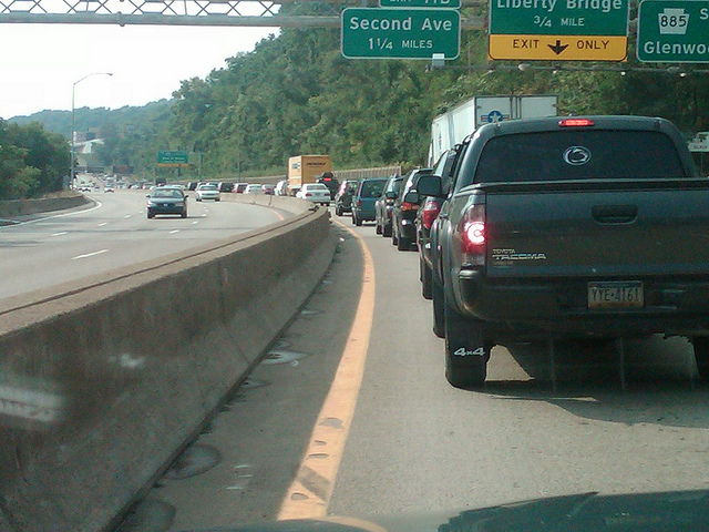 Rush hour traffic on the Parkway West - Now