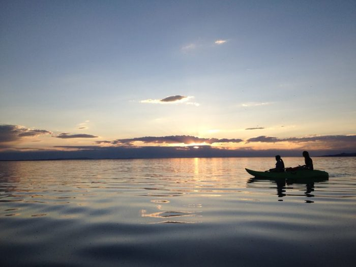 8. Kayaking at sunset on the Great Salt Lake.