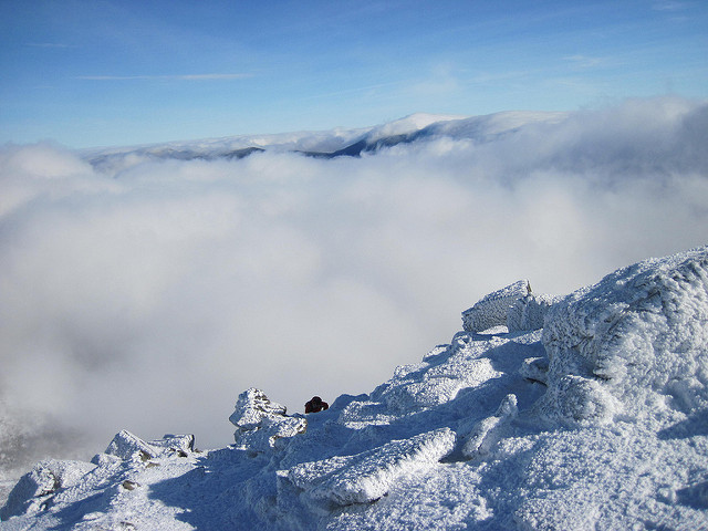 8. Look closely for the person climbing the ledge in this frigid photo of Mount Washington.