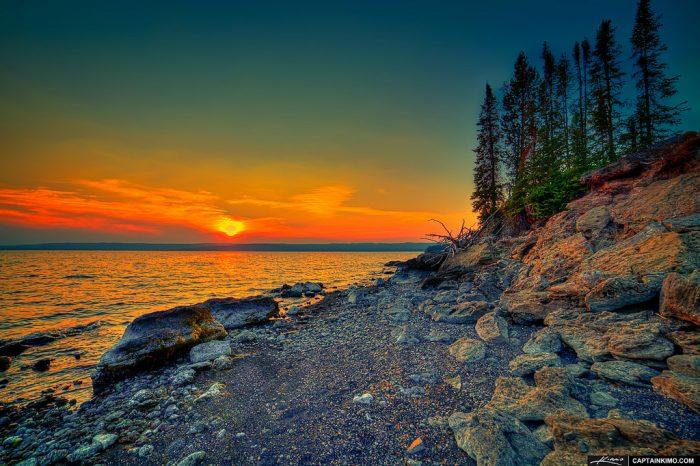 7. Quietly enjoying the sunset over Yellowstone Lake.