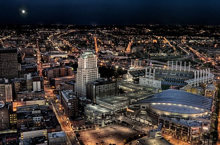9. This rooftop view of a late summer night in Cleveland nearly takes your breath away.