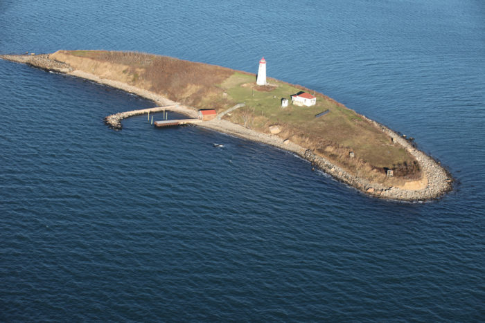 1. Falkner Island, off Guilford, features a light on the National Register of Historic Places, and is famous for its crescent shape.