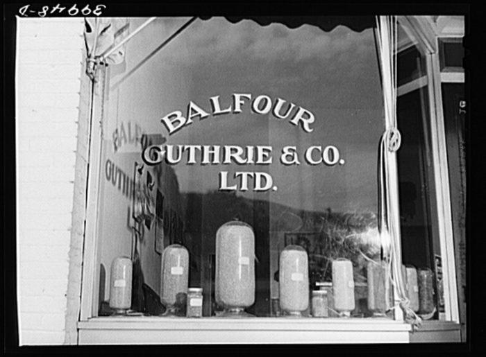 8. A wheat broker's window in Colfax in 1941.
