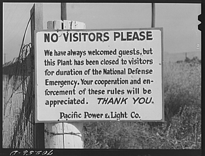 10.  A sign of the times spotted in Yakima in 1941.