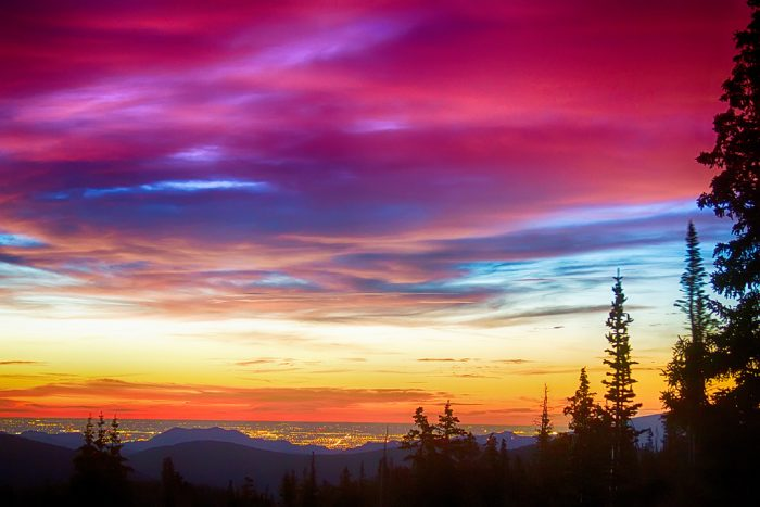 """10. """"City Lights Sunrise View From Rollins Pass"""""""