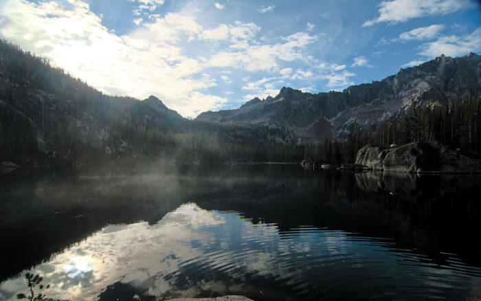 8. As the mist rises from the waters of Saddleback Lake, Idaho's goergeous back country scenery takes on a haunted feeling