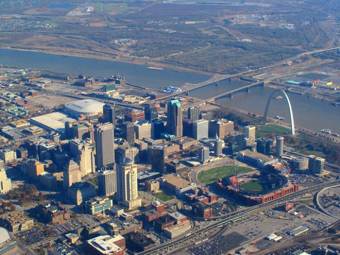 The St. Louis riverfront as it looks today.