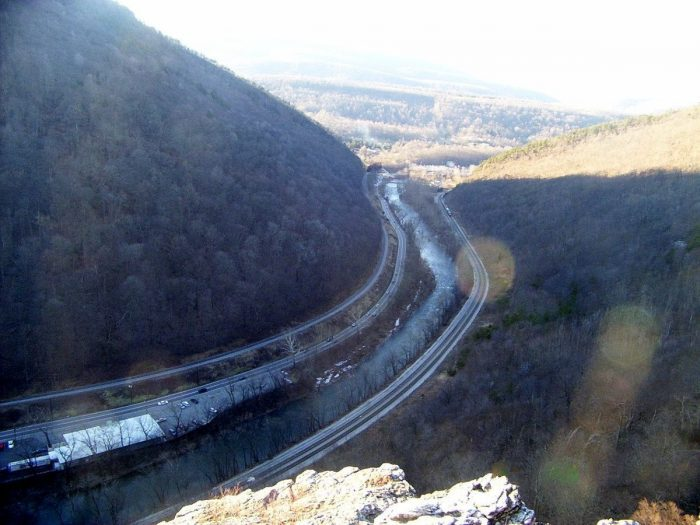 8. Drive through the Cumberland Narrows with Haystack Mountain on one side and Wills Mountain on the other.
