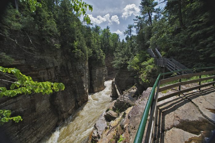 7. Enjoy the thrilling Adventure Trail at Ausable Chasm in Keeseville.