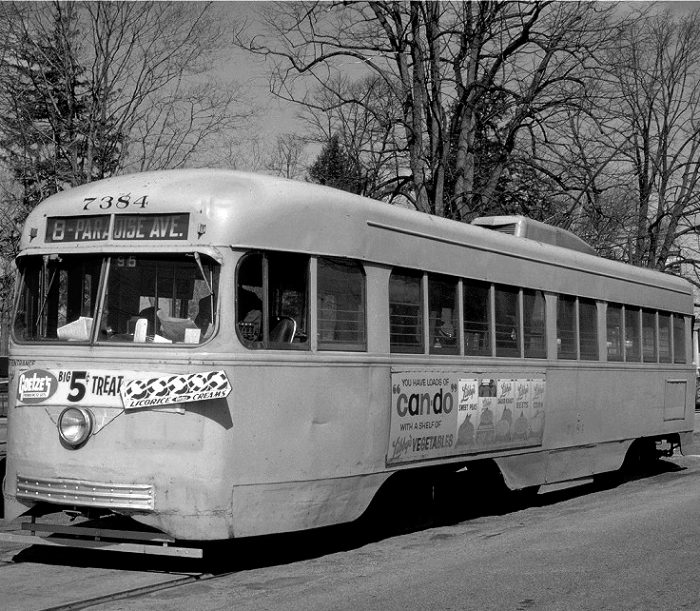 8. A Baltimore trolley in the 1950s.