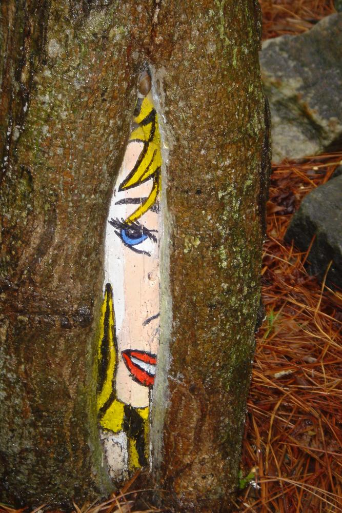 There are other types of art here other than sculptures, including painted trees that hide throughout the property.