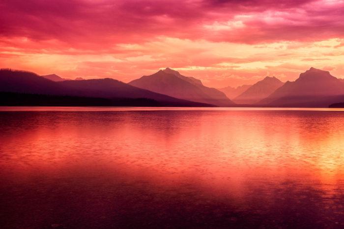 5. The sunrise over Lake McDonald at Glacier National Park.