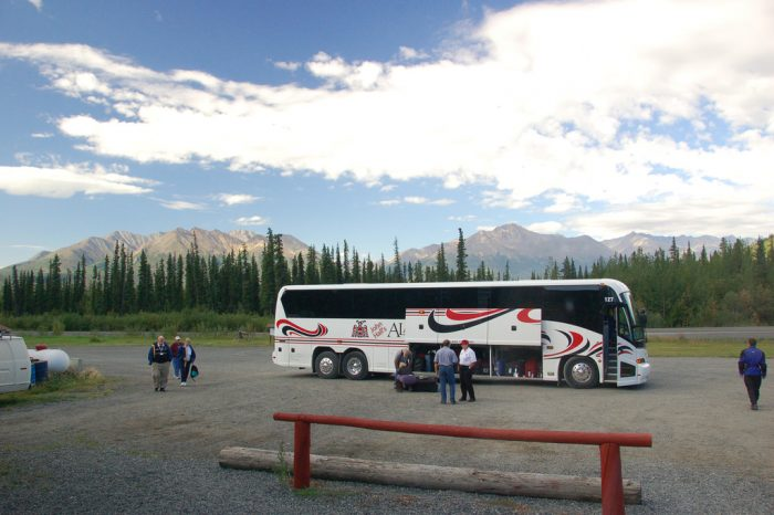 6. Motorcoaches and motorhomes mean that the tourists have arrived.