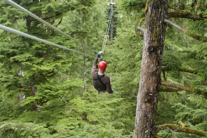 6. Cool off in the shade and catch the breeze on a zip line tour.