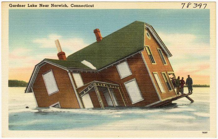 2. As this old postcard shows, Gardner Lake in Salem has some weird stuff happening.