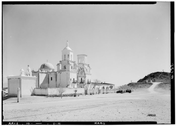 Historic_American_Buildings_Survey,_Donald_W._Dickensheets,_Photographer._April_10,_1940_GENERAL_VIEW_MAIN_CHURCH_(SOUTHWEST_ELEVATION)._-_San_Xavier_del_Bac_Mission,_Mission_HABS_ARIZ,10-TUCSO.V,3-11(1)