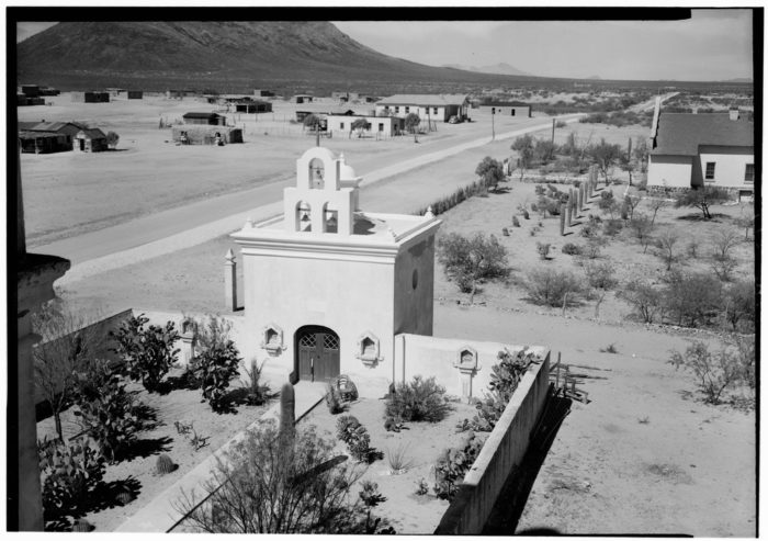 Historic_American_Buildings_Survey,_Donald_W._Dickensheets,_Photographer._April_29,_1940._MORTUARY_CHAPEL_FROM_CHURCH_ROOF._(EAST_ELEVATION)._-_San_Xavier_del_Bac_Mission,_HABS_ARIZ,10-TUCSO.V,3-195