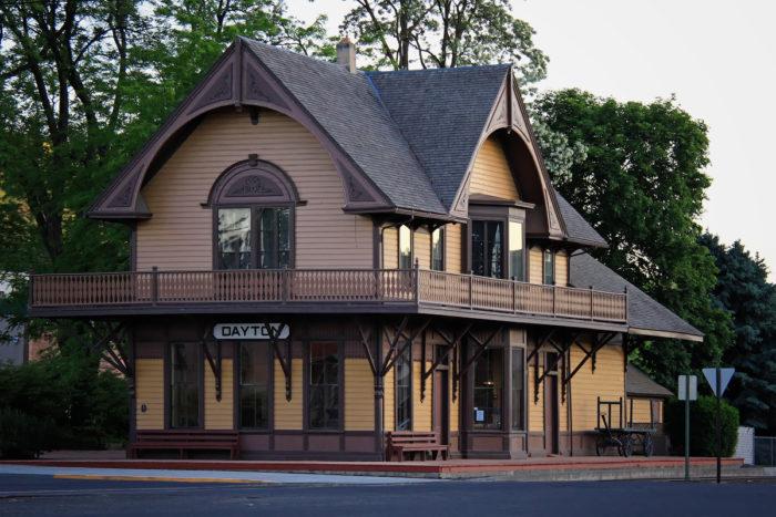 Historic railway depot in Dayton, WA