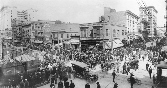 15. Look at this crowd in Los Angeles in April 1910.  This photograph was taken on Spring and 6th Street in front of the All Night and Day Bank long before ATMs or online banking. Wow, things sure have changed!