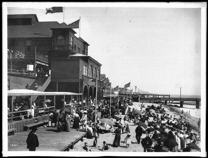 1. A Santa Monica beach scene in the early 1900s at the North Beach Bath House.