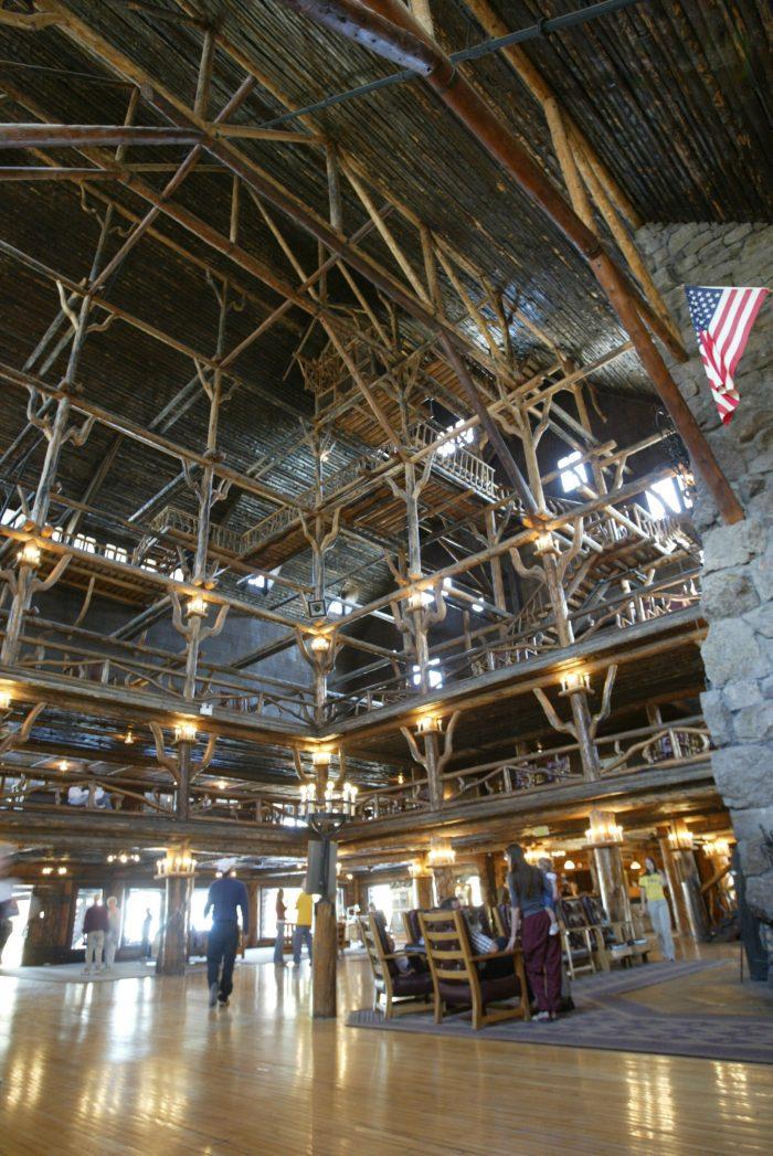 Old Faithful Inn main floor lobby;Jim Peaco;October 2003