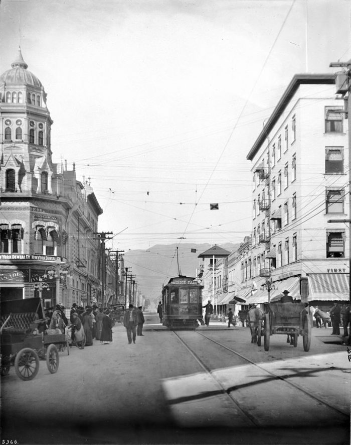 5. Pasadena as it looked on Fair Oaks Avenue and Colorado Street. Check out the electric street car and horse-drawn carriages.
