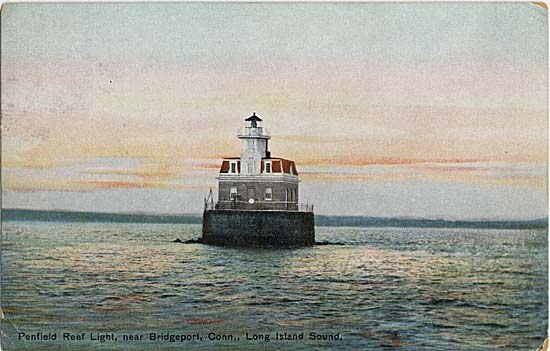 Penfield Reef Lighthouse is located just off the coast of Fairfield. This postcard paints a pretty picture of one of the state's last offshore masonry lights, but there is definitely more to the story.