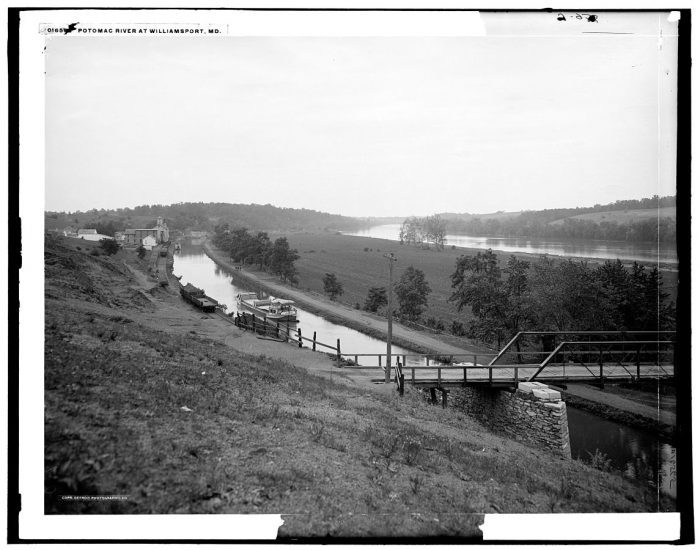 3. The C & O Canal and Potomac River in Williamsport. This photo was taken between 1900 and 1906.