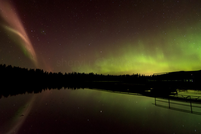 Distinct from the vibrant aurora displays taking place alongside it, the two phenomena side-by-side are mesmerizing.