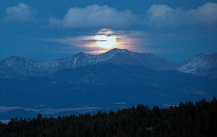 2. The moon rising over Bozeman.