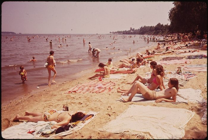 6. Swimmers and sunbathers at Rocky Point Park in Baltimore County. Photo taken in June 1973.