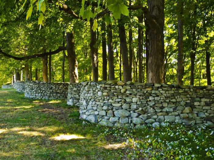 Over 2,000 feet long, the Storm King Wall elegantly winds through the trees down into a pond in the park, a sight to be seen.