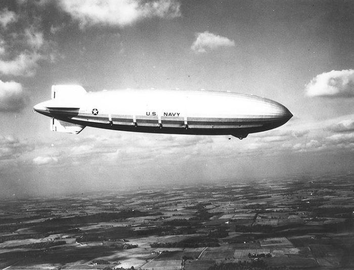 The U.S.S. Akron in flight.