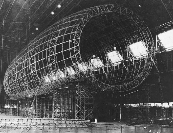 The U.S.S. Akron being built.