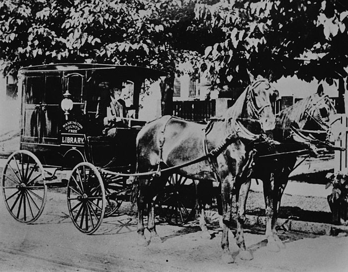1. Pictured here is a Washington County Mobile Library circa 1905.