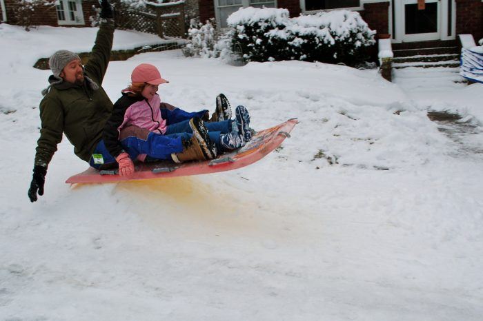 8. You can't ride a sled that's attached to a car.   No fun!