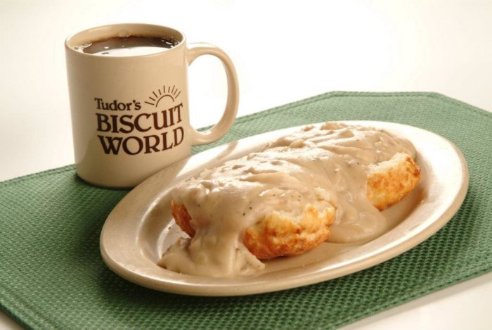 2, Enjoy fresh baked biscuits and gravy at Tudor's Biscuit World.