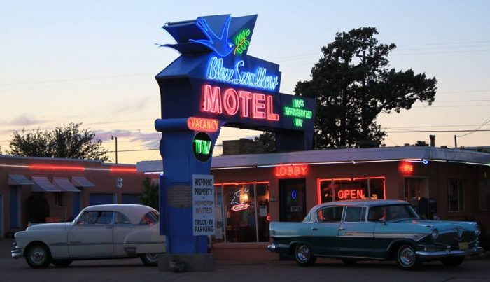 4. Route 66-era motels and motor courts, like the Blue Swallow Motel in Tucumcari, usually offer great value.