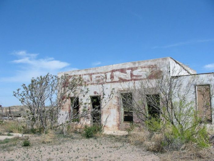 14. An abandoned building near Deming advertises cabins, presumably for rent. Any readers ever stay here when it was still in business?