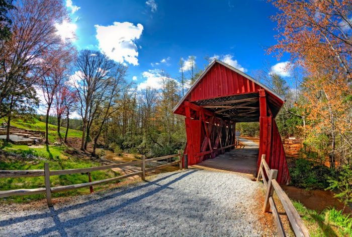 7. The vivid red, white and blue in this photo of Campbells Covered Bridge near Landrum, SC is astounding.