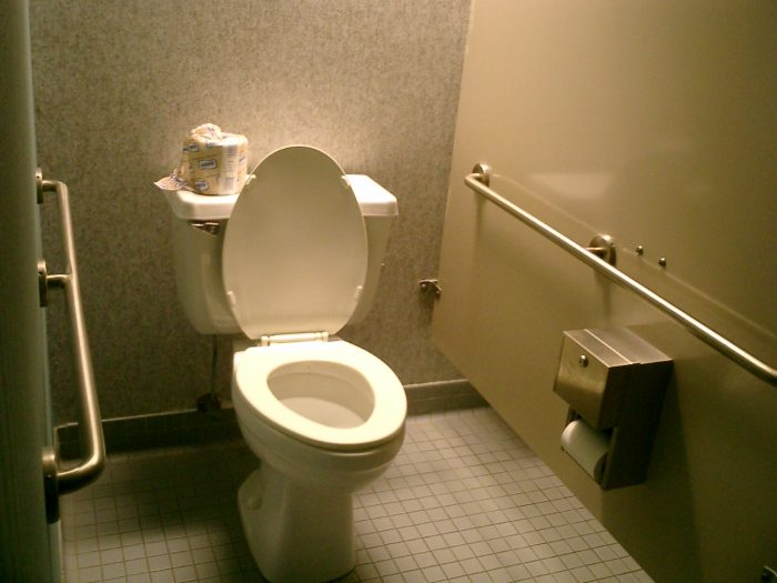 6. It's unlawful to stand, lay, sit, or climb on any public restroom fixture that isn't intended for that purpose.