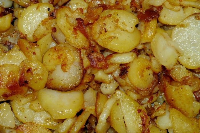 11.Pan fried potatoes, in bacon grease