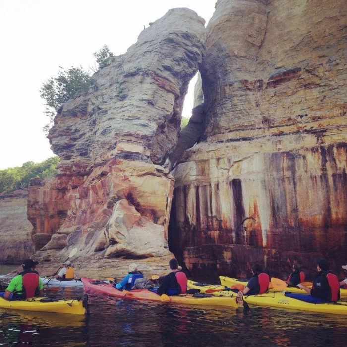 To get to the cave below the formation, rent a kayak and go on a group tour.
