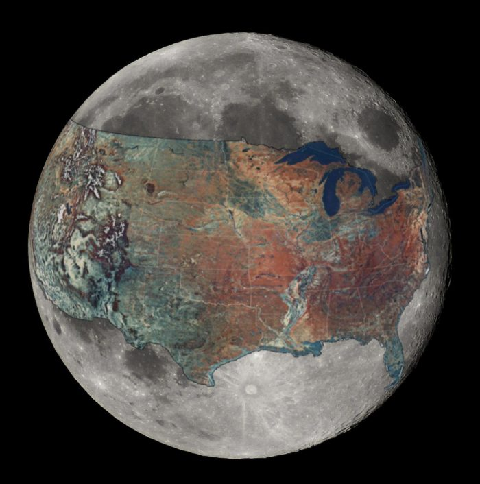 15. The size of the United States compared to the moon.