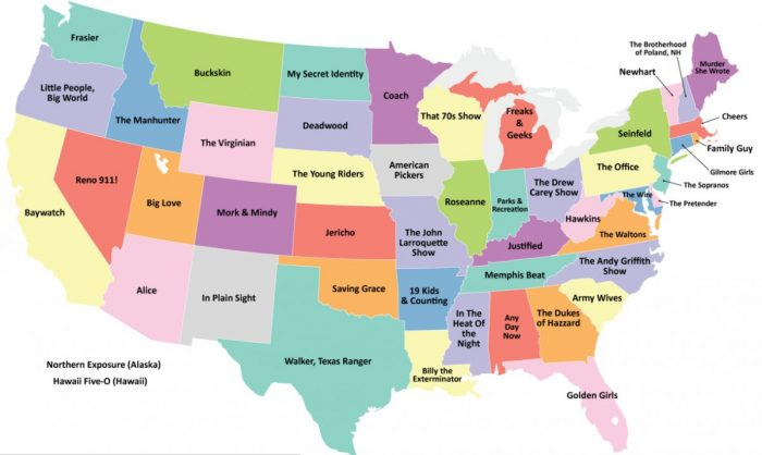 19. The most famous television show in each state.