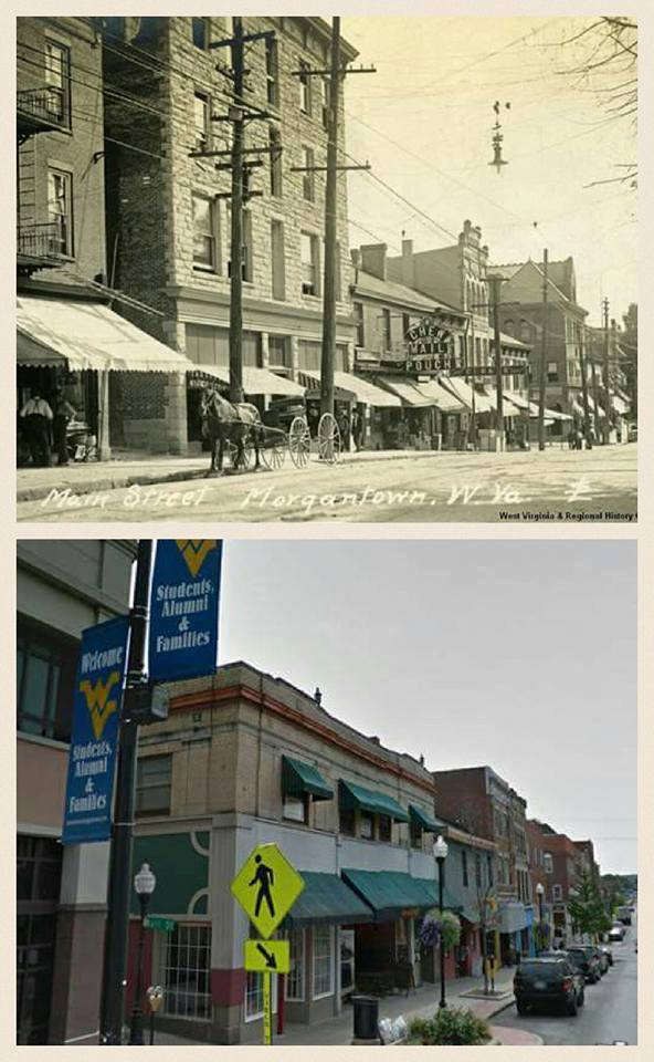 2. High Street in Morgantown on an unknown date, and today